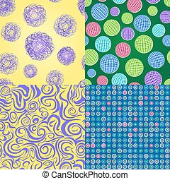 Set of Seamless Pattern with Balls and Dots