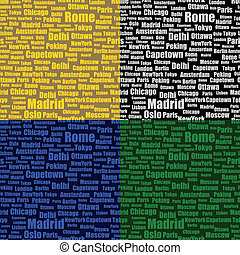 set of seamless pattern with cities names