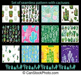 Set of seamless pattern with cute cactuses