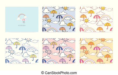 Set of seamless pattern with cute rainbow and umbrella. Vector illustration background.