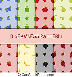 Set of seamless pattern with fruit, vector illustration