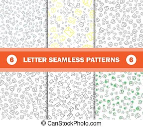 set of seamless pattern with mail envelopes. Vector background for postal delivery.