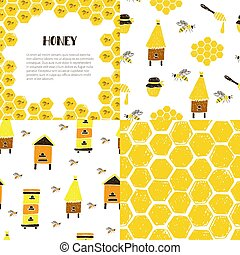 Set of seamless patterns and frame. Honeycomb, bees, beehive, jar.