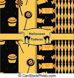 set of seamless patterns as Hallowe