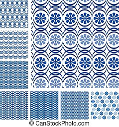 Set of seamless patterns - blue ceramic tiles with floral orname