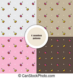 Set of seamless patterns. Cupcakes. Vector.