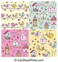 Set of Seamless Patterns - Cute Birds Backgrounds - in vector