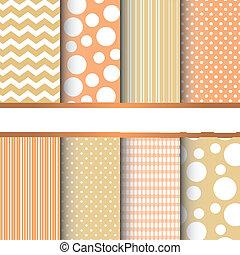 Set of seamless patterns - Set of orange and yellow pastel...