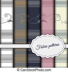 Set of seamless patterns for fabric