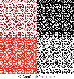 set of seamless patterns for grill and barbecue
