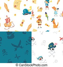 set of seamless patterns for pirate party.
