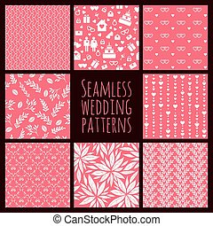 Set of seamless patterns for wedding decoration