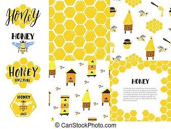 Set of seamless patterns, frame, labels. Honeycomb, bees, beehive, jar.