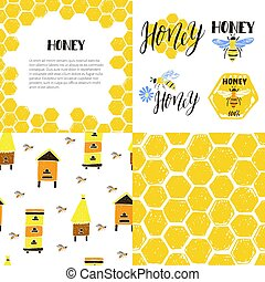 Set of seamless patterns, frame, labels. Honeycomb, bees, beehive.