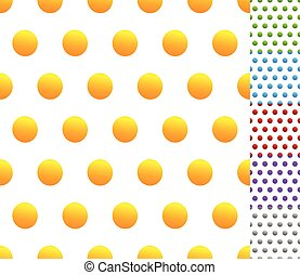 Set of seamless patterns in 6 colors: Dotted, polkadots, circle pattern