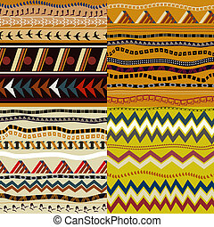 Set of seamless patterns in African style