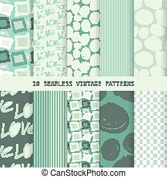 Set of seamless patterns in retro style