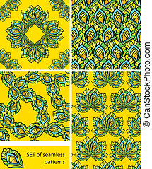 Set of Seamless patterns - ornaments are made of peacock feathers in yellow background. Ready to use as swatch.