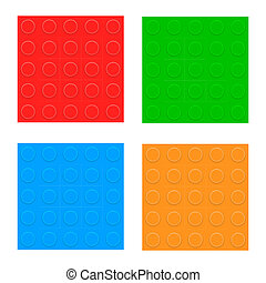 Set Of Seamless Patterns. Plastic Constructor Blocks. Vector