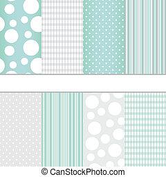 Set of seamless patterns - Set of blue pastel and grey jumbo...
