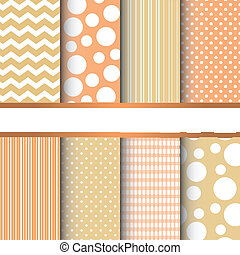 Set of seamless patterns - Set of orange and yellow pastel...