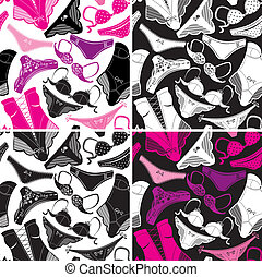 Set of seamless patterns - Silhouettes of glamor...