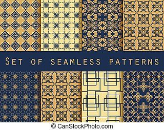 Set of seamless patterns. Vector.