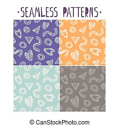 Set of Seamless patterns with abstract shapes