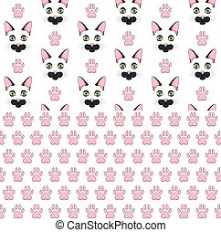 Set of seamless patterns with black cat face and paw prints. Colored vector backgrounds.