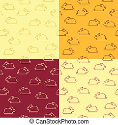 Set of seamless patterns with bunnies