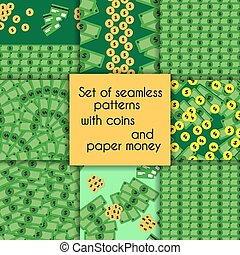 Set of seamless patterns with coins and paper money.