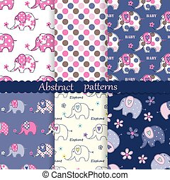 Set of seamless patterns with cute elephants