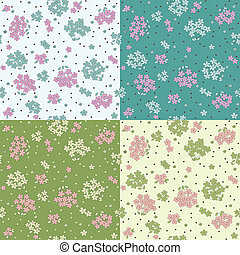 Set of seamless patterns with cute