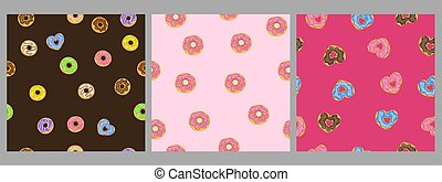 Set of seamless patterns with donuts. Vector graphics.