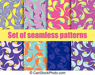 Set of seamless patterns with female faces. Zine culture colorful background. Pop art color palette. Vector illustration