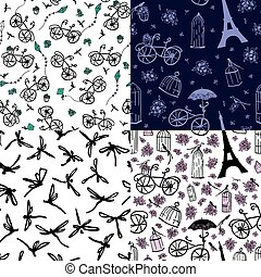 set of seamless patterns with flowe