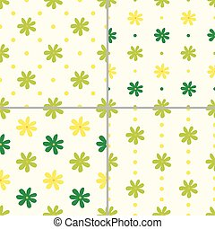 Set of seamless patterns with flowers, vector illustration