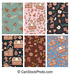 Set of seamless patterns with gingerbread cookies. Vector graphics.