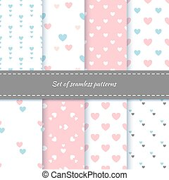 Set of seamless patterns with hearts. Delicate shades of colors. Pattern for home textiles and children's clothing.