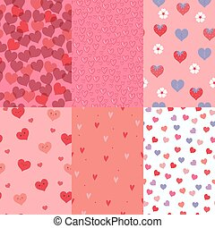 Set of seamless patterns with hearts. Vector graphics.