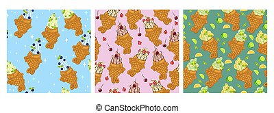 Set of seamless patterns with ice cream taiyaki. Vector graphics.
