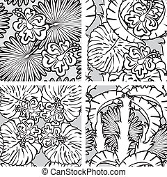 Set of seamless patterns with palm trees leaves and Frangipani flowers. Black and white version. Ready to use as swatch.