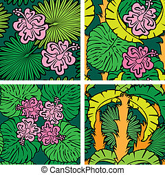 Set of seamless patterns with palm trees leaves and Frangipani flowers. Color version. Ready to use as swatch.