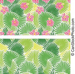 Set of seamless patterns with palm trees leaves  and  Frangipani