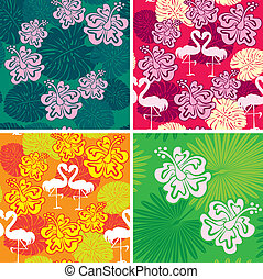 Set of seamless patterns with palm trees leaves, Frangipani flowers and flamingos. Ready to use as swatch.