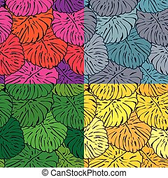 Set of seamless patterns with palm trees leaves in different col