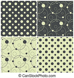 seamless patterns with polka dots and circles, vector...
