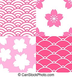Set of seamless patterns with sakura and waves