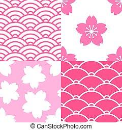 Set of seamless patterns with sakura and waves