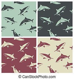 Set of seamless patterns with sharks
